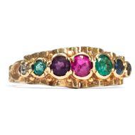 DEAREST! Antiker VERLOBUNGSRING mit AKRONYM: Diamant RING 18ct Gold, acrostic