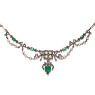 Antikes Collier um 1890: 2,50 ct Smaragde, 1,44 ct Diamanten, Natur Perlen, Gold