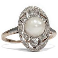 Antiker Perlenring Diamanten Platin Art Déco um 1925 Verlobungsring Perle Ring
