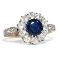 Antiker Ring um 1910: Saphir, Diamanten, Gold, Platin / Verlobung