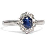 Antiker Ring, England um 1930: Saphir, Diamanten, Platin / Verlobungsring