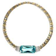 Meine Kragenweite - Vintage Collar-Collier mit phantastischem 75ct Aquamarin & Diamanten, 1980er Jahre. Photo © 2019 Hofer Antikschmuck Berlin