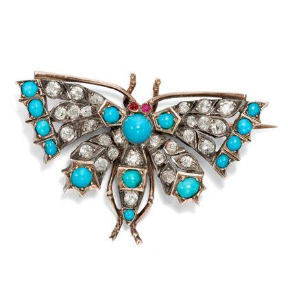 Lichtgestalt - Elegante Schmetterlings-Brosche mit 1,60 ct Diamanten, entstanden um 1890. Photo © 2019 Hofer Antikschmuck Berlin