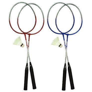 Best Sporting Badminton-Spiel Garnitur bestehend aus 2 Schlägerund 1 Badmintonball, blau/silber oder rot/silber