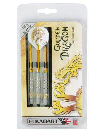 Elkadart Dartpfeile Golden Dragon, 3 Soft-Tip-Pfeile mit Etui, 16 oder 18g