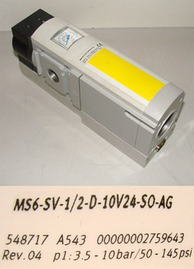 FESTO MS6-SV-1/2-D-10V24-S0-AG 548717 p1=3,5 - 10bar/50-145psi -unused-