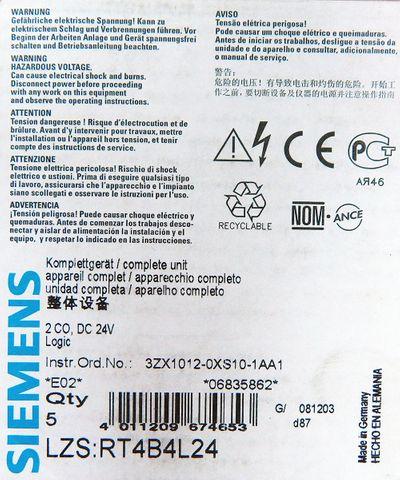 5x Siemens RT4B4L24 RT4B 4L24 E-Stand:02 -unused/OVP- – Bild 3