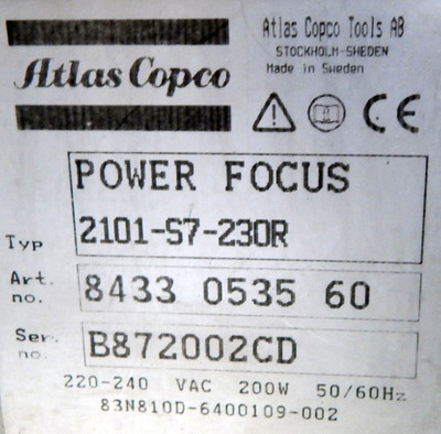 ATLAS COPCO Tensor S7 Power Focus 2101-S7-230R  - used - – Bild 3