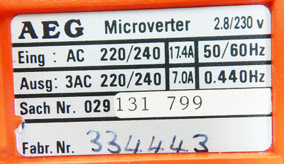 AEG Microverter 2.8/230V 029 131 799 Frequenzumrichter -unused/OVP- – Bild 4