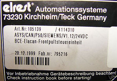 SIEMENS ELREST ASYS/CAN/P50/V1.12/24VDC Bedienteil -used- – Bild 3