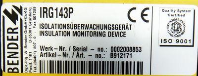 Bender IRG 143 P IRG143P Isolationsüberwachungsgerät AC 250V 5A -used- – Bild 3