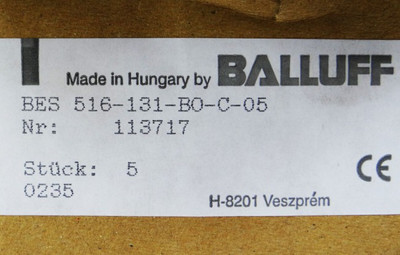 5 X Balluff Näherungssensor BES 516-131-B0-C-05 BES516131B0C05 -unused/OVP- – Bild 2