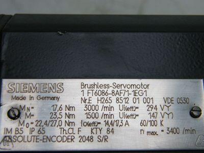 Siemens Servomotor 1FT6086-8AF71-1EG1 – Bild 3