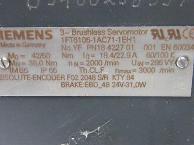 Siemens Servomotor 1FT6105-1AC71-1EH1 1FT61051AC711EH1 – Bild 3