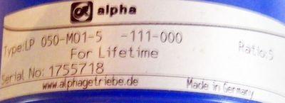 alpha Getriebe LP 050-MO1-111-000 – Bild 2