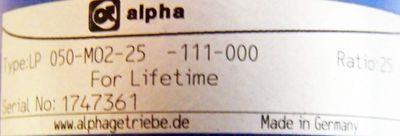 alpha Getriebe LP 050-MO2-25-111-000 -used- – Bild 2