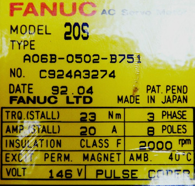 Fanuc Servomotor AO6B-0502-B751 Model 20S -unused- – Bild 3