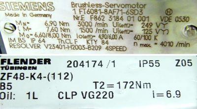 Siemens Servomotor 1 FT 6081-8AF71-6SD3 mit Flendergetriebe ZF 48-K4-(112)  – Bild 3