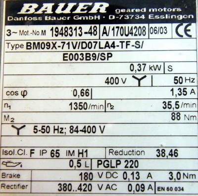 Bauer Danfoss BM09X-71V/D07LA4-TF-SI/E003B9/SP Getriebemotor -unused- – Bild 3