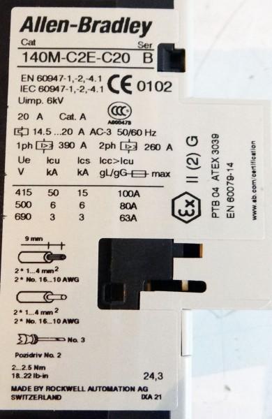 Allen-Bradley 140M-C2E-C20  140MC2EC20  Serie B Leistungsschalter -unused/OVP- – Bild 2