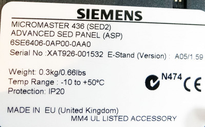 Siemens 6SE6406-0AP00-0AA0   6SE6 406-0AP00-0AA0  E: A05/1.59 Advanced SED Panel – Bild 2