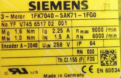 Siemens Servomotor 1FK7040-5AK71-1FG0 – Bild 3