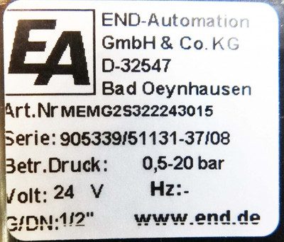 END-Automation MEMG2S322243015  0,5 - 20 bar Magnetventil -unused- – Bild 2
