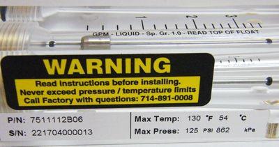 King Instrument 7511112B06 Acryl Durchflussmesser -unused- – Bild 2