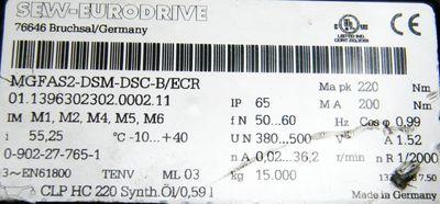SEW-Eurodrive Getriebe MGFAS2-DSM-DSC-B/ECR MA pk 220 i-55,25 MOVIGEAR Antrieb – Bild 3