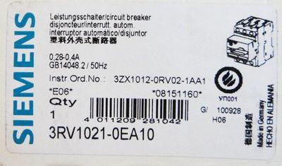 Siemens 3RV1021-0EA10 3RV1 021-0EA10 E: 06 Leistungsschalter -unused/OVP- – Bild 2