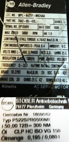 Allen Bradley Servo Motor - MPL-B420P-MK24AA+Stöber Getriebe P522SPRO500ME – Bild 3