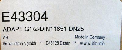 ifm Electronic E43304 ADAPT G1/2-DIN11851 DN25 Rohrverschraubung G ½ -unused- – Bild 2