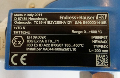 Endress Hauser TC15 TC15-H1B2Y2E0HA12Y  Range: 0...+600C -unused- – Bild 2