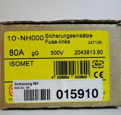 10 x SIBA Sicherungseinsätze ISOMET NH000 80A gG 500V -unused/OVP- – Bild 1