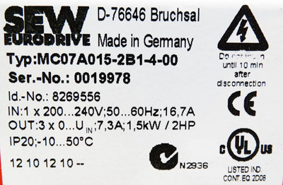 SEW EURODRIVE MC07A015-2B1-4-00 8269556 Frequenzumrichter 1,5 kW/2HP unused – Bild 3