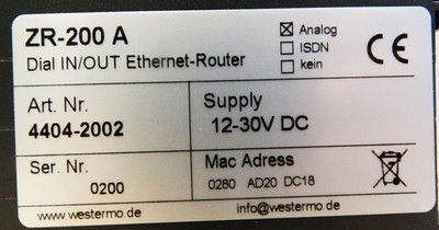 Westermo ZR-200A Dial IN/OUT Ethernet-Router -OVP- – Bild 3