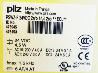 Pilz PSWZ-F-24VDC 2n/o 1n/c 2so **EOL** Id.-No. 475945 476153 -used- – Bild 2
