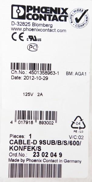 Phoenix Contact Cable-D 9SUB/B/S/600/KONFEK/S Ord.-No. 2302049 -Neu- – Bild 2
