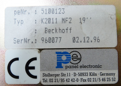 Beckhoff K2011 MF2 peNr. 5100123 Bedienfeld panel electronic -used- – Bild 3
