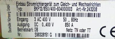 Baumüller BKF12/850/400-604000003 Einbau-Stromrichtergerät *Gebraucht* – Bild 3