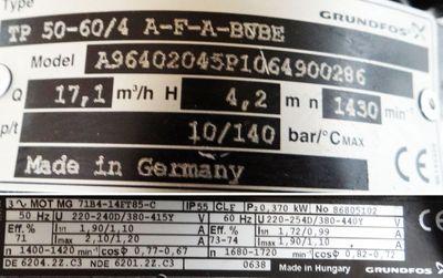 Grundfos TP 50-60/4 A-F-A-BUBE Heizungspumpe Umwälzpumpe -used- – Bild 3