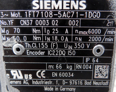 Siemens Servomotor 1FT 7108-5AC71-1DGO  1FT71085AC711DGO - unused - – Bild 3