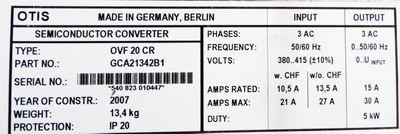 OTIS OVF20CR GCA21342B1 Semiconductor Converter -used- – Bild 3