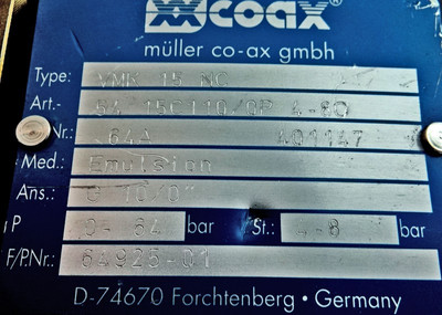 COAX Wegeventil VMK 15 NC Regelventil Hydraulikventil Ventil -unused- – Bild 2