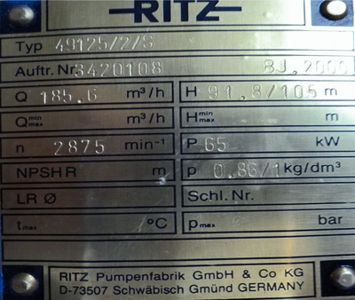 Ritz Pumpe Typ 49125/2/S -unused- – Bild 3