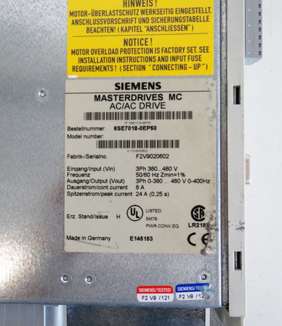 SIEMENS Masterdrives MC AC/AC Drive 6SE7018-0EP50 E-Stand: H  - used - – Bild 3