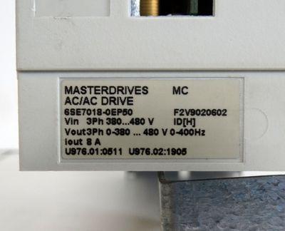 SIEMENS Masterdrives MC AC/AC Drive 6SE7018-0EP50 E-Stand: H  - used - – Bild 2