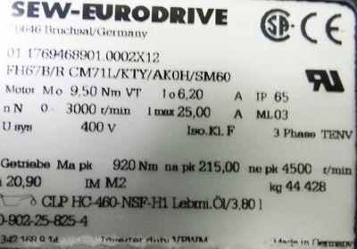 SEW Eurodrive Getriebemotor FH67B/R CM71L/KTY/AKOH/SM60 -unused- – Bild 3