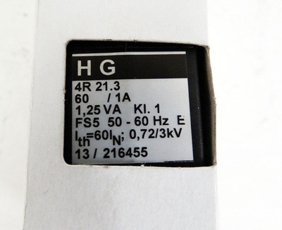HG Stromwandler HG 4R21.3  60/1A 50-60Hz 1,25VA Kl.1  - unused - in OVP – Bild 3