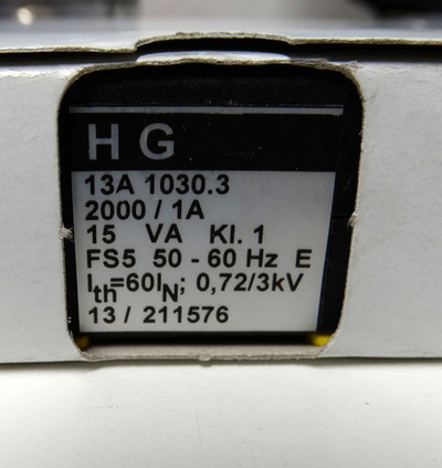 HG  Stromwandler HG 13A1030.3  2000/1A  50-60 Hz 15VA Kl.1  - unused - in OVP – Bild 3
